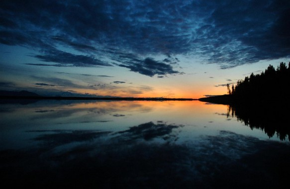 An image of a sunset on Healy Lake, Alaska