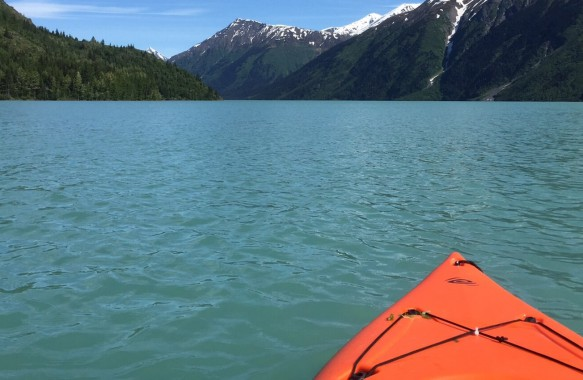 Kayaking at Kenai lake, Alaska.